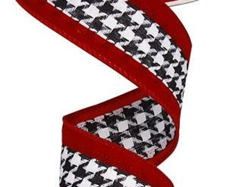 1.5 Inch Crimson Black White Houndstooth With Velvet Ribbon Silk Ribbon RW59489X, College Ribbon,
