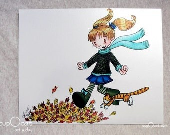 Charge!  Girl with her Cat Artwork - 8x10 photographic print (Metallic Paper)