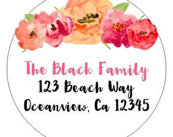 custom address labels, watercolor flower address stickers, floral address labels, watercolor floral address labels, set of 20