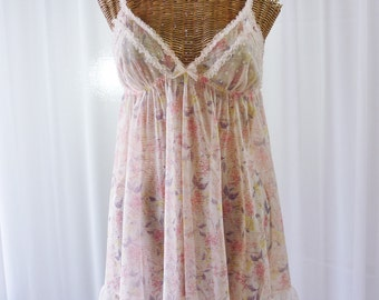 Victoria's Secret Sheer Pink Floral Ruffle Babydoll Nightgown Large
