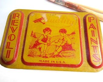 Vintage Revoli Paints, Metal Tin, 1920s School Supply, Back to School, Watercolor Paint Storage Tin