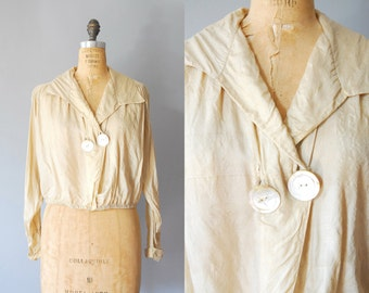 1910s Silk Blouse / Antique Blouse / Cream Silk