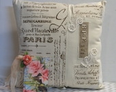 Paris French Script Pillow, Shabby Chic Pillow, Keepsack Pocket, Floral Gift Enclosure Card, Bridal Gift