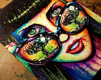 ORIGINAL 11x14 in Watercolor Painting - Color Bomb - Lowbrow Pop Art Horror Portrait - Alternative Art Rainbow Splatter