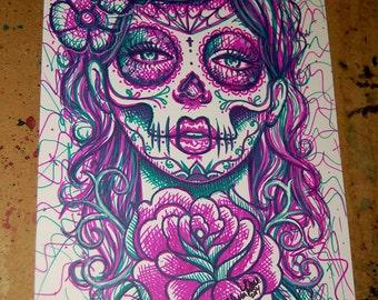 ORIGINAL DRAWING Sharpie Pop Art Artwork 8.5 x 11 in. Revive 2 Day of the Dead Sugar Skull Girl Tattoo Art Illustration
