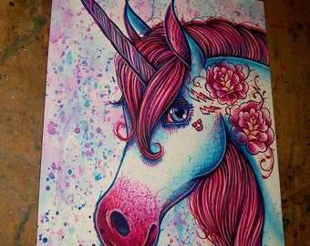ORIGINAL PAINTING Unicorn Pop Art Artwork 11x14 in. Pink and Blue Magic Tattooed Unicorn PopArt Equine Fantasy Decor Marker Illustration