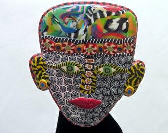 Millefiori Tribal Face Brooch - Studio Artist Piece - Marbleized Clay - Modern Pop Art - African Pin Jewelry - Arts and Craft Era - Head Pin