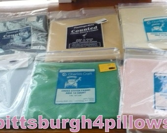 New Listing -19 -14 Count - Cross Stitch /  Aida Cloth - 12 x 18 - Assorted Manufactures - Assorted Colors - See Description