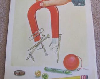 "Original Vintage School Classroom Poster Print - Circa 1967 - Science - Magnets - 9"" x 12"""