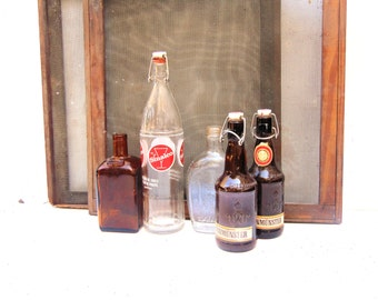 French and German Glass Bottles, Glass Bottles with Porcelain Tops, Cointreau Sinalco German Beer