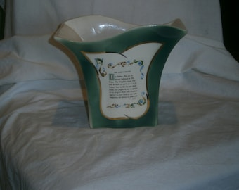 Vintage Green Lords Prayer Vase