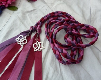 Wedding cord- Purple, burgundy red, eggplant - Celtic love knot charms