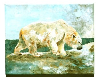 Acrylic white polar bear painting 10x8 original wildlife art wall decor blue beige man cave asculine child's room art