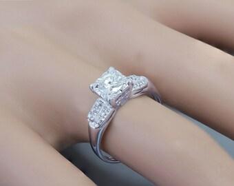 GIA H-SI1 14k White Gold Round Cut Diamond Engagement Ring Art Deco Antique Style 0.60ctw