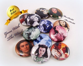 """Gone With The Wind Pins, Gone With the Wind Magnets, Gone With the Wind Wedding, 1"""" Flatback Buttons, Pins, or Magnets 12 ct."""