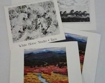 DAILY SPECIAL Ila McAfee advertising art print flyers from White Horse Studios in Taos including invitation to Governor's Gallery exhibition