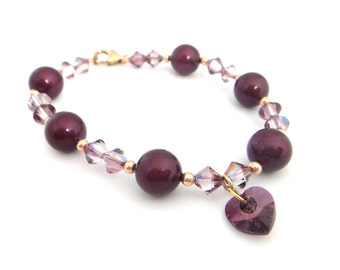Purple Swarovski Pearl and Bicone Beaded Bracelet with Rose Gold Accents