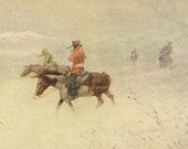 Canadian Artist John Innes Indians in a Snow Storm – Vintage Art Postcard 1906 Troilene Indian Series