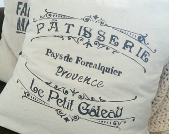 18 inch French Patisserie pillow cover