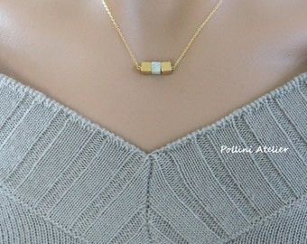 Three Cubes Necklace in Matte Gold/ Silver. Minimalist Necklace. Amazonite Stone. Simple and Chic.  Timeless. Gift For Her (PNL-191)