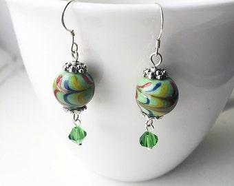 Green Ceramic and Swarovski Dangle Earrings