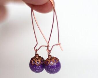 Violet Sparkle Earrings - Glittery Earrings - Copper Earrings - Kidney Ear Wires - Bohemian Jewelry - Boho Earrings - Gift Idea