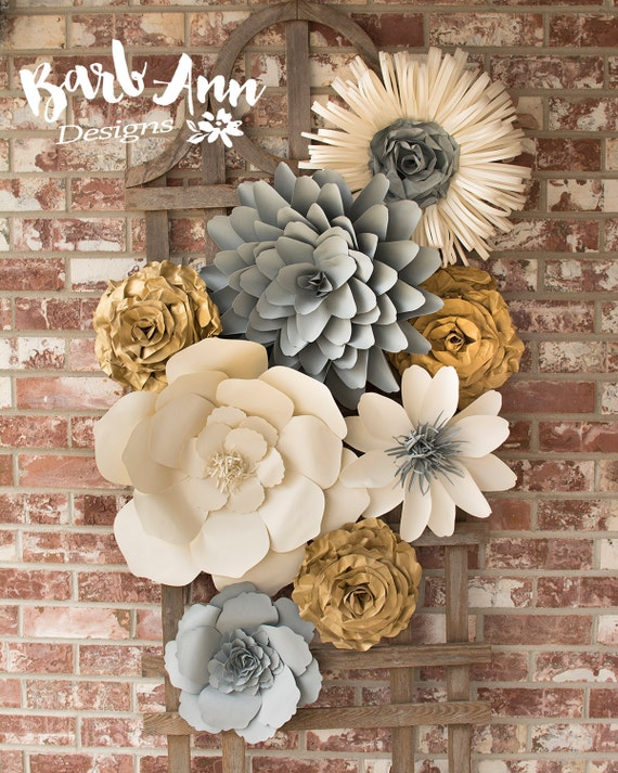 Large paper flower wall decor for nursery weddings bridal for Wedding wall decor