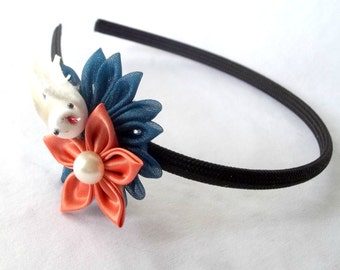 Statement Headband with Kanzashi Flowers and Vintage Millinery Bird Teal and Salmon