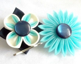 Navy and Aqua Unique Flower Bobby Pins Cute Hair Flowers Something Blue