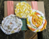 Set of Three Elastic Ribbon Hair Ties with Vintage Fabric Rosettes in Pastel Shabby Rag Style Elastic Hair Ties Handmade Hair Ties