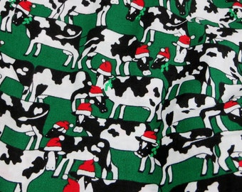 Vintage Christmas Cow Fabric One Yard Fabric Traditions 1993 Christmas Holiday Fabric Cows Fun Christmas Fabric Cotton Yardage
