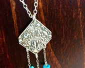 Beautiful Hand Crated Precious Metal Clay Turquoise Necklace || Oxidized Silver || Artisan Necklace || PMC || Boho || Boho Necklace ||
