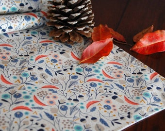 Floral Table Runner, Autumn Table Runner, Organic Table Linens, Lined Table Runner