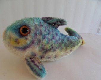 Steiff fish w button, mohair, made in Germany 1536