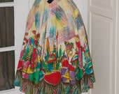 50s Skirt, Mexican, Hand Painted, Full Circle Skirt, 360 Sweep, Colorful, Cotton, Size Medium