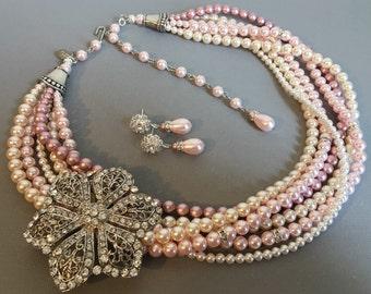 Blush Bridal Jewelry Set Necklace Bracelet Earrings Brooch 6 strands Pink Grey Mix Swarovski Pearls and Long Backdrop