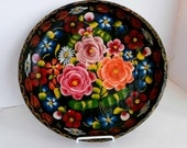 Mexican Wooden Hand Painted Tray-Large Vintage Mexican Batea-Hand Carved-Mexican Collectible