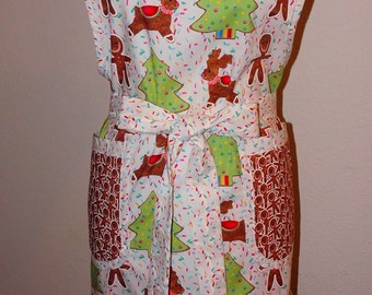 Apron Handmade Christmas Sugar Cookie Cutter Womens bib Apron-Unique, lovely and pratical for Holiday cooking