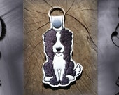 Clearance Border Collie Embroidered Key Fob, Key Chain, Luggage Tag, Bag Clip, Vinyl, Key Ring, Purse Charm