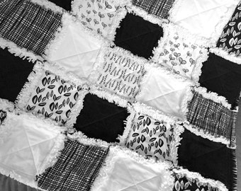 Rag Quilt Black and White  Sylvia Collection Modern Baby Rag Quilt
