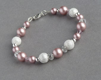 Dusky Pink Stardust Bracelet - Blush Pink Bridesmaid Jewelry - Powder Rose Pearl Bridal Party Gifts - Pearl and Silver Wedding Accessories