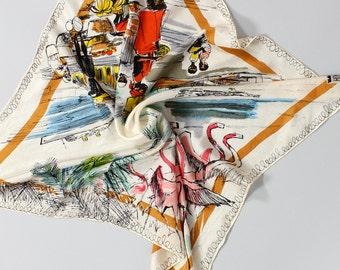 50s Silk Scarf • Bahama Novelty Print Scarf Silk • Flamingo Scarf • Silk Neck Scarf • Neckerchief Scarf • Souvenir Scarf • Head Scarf |SC218