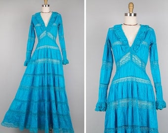 Mexican Wedding Dress S • Turquoise Cotton Dress• Boho Maxi Dress • Blue Maxi Dress • Mexican Dress • Lace Dress with Sleeves | D526
