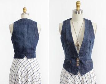Denim Vest XS/S • French Connection Jean Vest • 90s Denim Vest • Cropped Vest • 90s Grunge Vest   T455