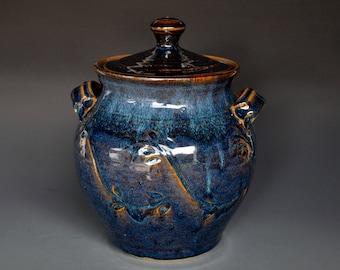 Blue Stoneware Ceramic Lidded Jar. Hand Made Pottery Jar A