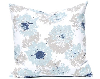 Throw Pillow Covers - Blue and Tan - Floral Pillow Covers for Sofa - Decorative Pillow Covers - Blue Pillow Covers - Navy Pillow Covers
