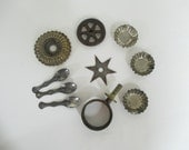 Vintage Salvaged Metal Findings Destash - Mixed Media, Assemblage, Altered Art - Star, Wheel, Candy tin, Spoons - 10 in Lot