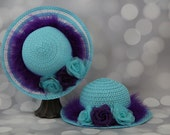 Tea Party Hats; Set of Two Blue Easter Bonnets with Boa; Girls Sun Hats; Blue Easter Hat; Sunday Dress Hat; Derby Hat; 16296