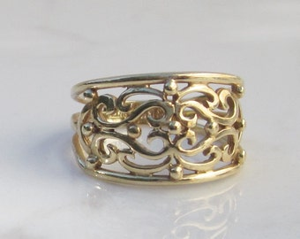Vintage 14k Yellow Gold Open Scroll Work Unique Wedding Band, Size 5