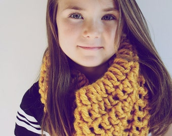 Child Scarf Cowl- Mustard Yellow- Handmade Chunky Knit Toddler Baby Child Cowl Scarf Chunky Knit